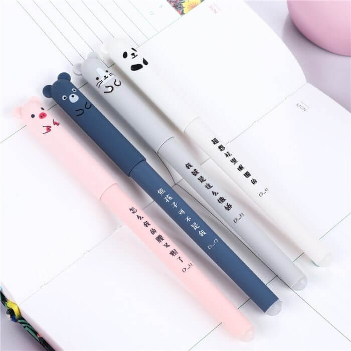 4 Pcs/set Kawaii Pig Bear Cat Mouse Erasable Gel Pen School Office Supplies Stationery Gift 0.35mm Blue Black Ink 2