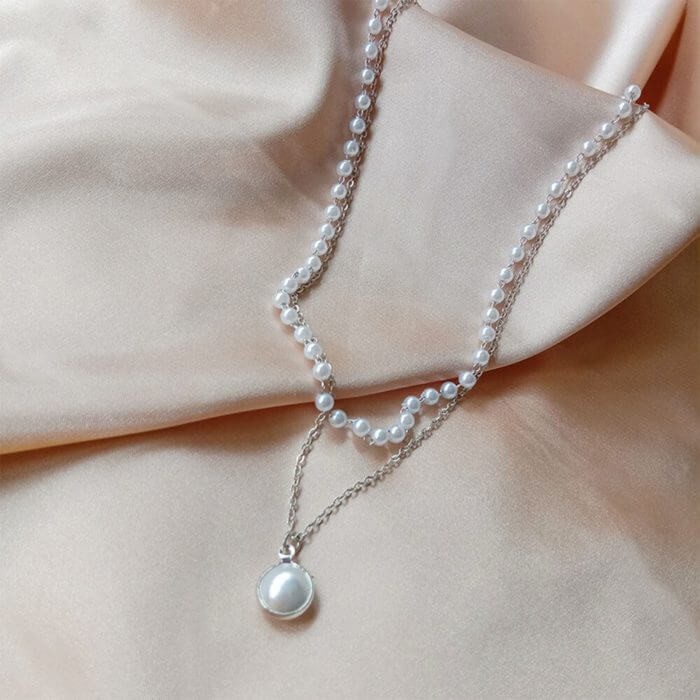 SUMENG 2020 New Fashion Kpop Pearl Choker Necklace Cute Double Layer Chain Pendant For Women Jewelry Girl Gift 6