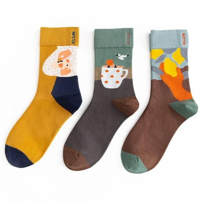Unisex Painting Style Women Socks 100 Cotton Harajuku Colorful Kawaii  Full Socks Women1 Pair  Streetwear Size 35-43 4