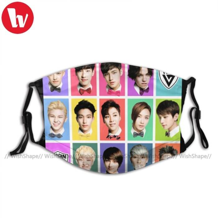 Seventeen Kpop Mouth Face Mask SEVENTEEN Faces Facial Mask with 2 Filters Fashion for Adult Nice Mask 1
