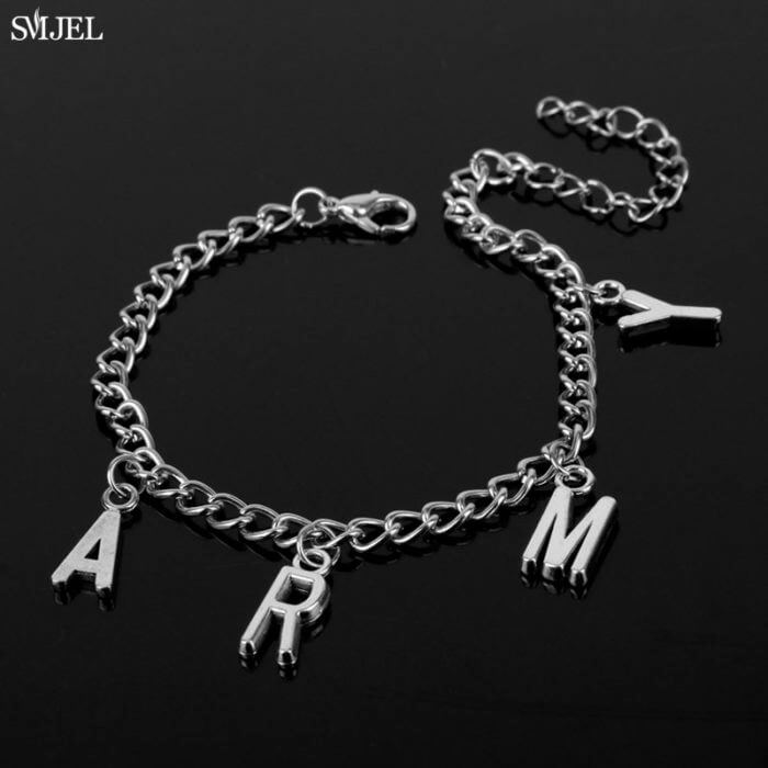 SMJEL Punk Jimin ARMY Letter Bracelets for Women Men Kpop Boys Jewelry Korean Style Army Birthday Gifts Friend 1