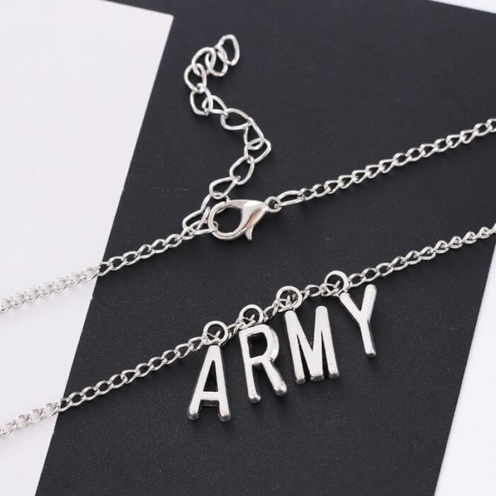 Kpop Jewelry ARMY Letter Necklace for Woman Alloy Letter Necklace Fashion Party Accessories Gift Girl BTS-1149 4