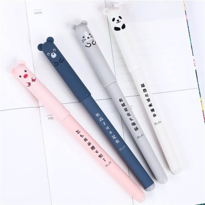 4 Pcs/set Kawaii Pig Bear Cat Mouse Erasable Gel Pen School Office Supplies Stationery Gift 0.35mm Blue Black Ink 3