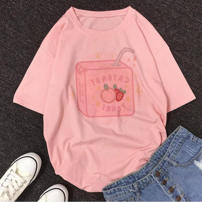 Cartoon Peach Juice Japanses Aesthetic Grunge T shirt Women Harajuku Cute Kawaii Pink Summer Casual Tumblr Outfit Fashion Tops 4
