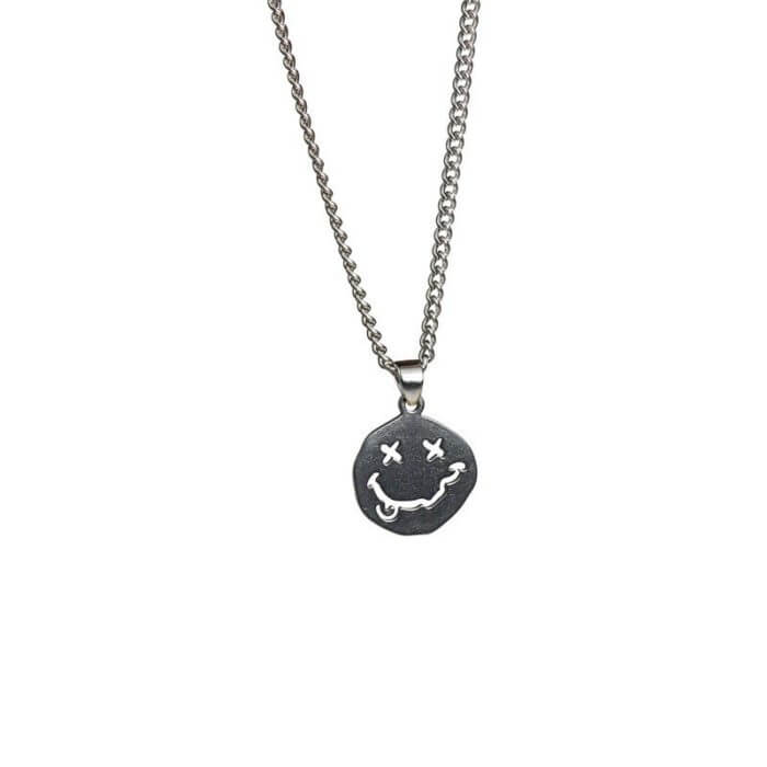 Smiley Face Necklace Women Chain Figure High Quality Pendant Necklaces Girl Jewelry Silver Color Trendy Kpop Zinc Alloy Collares 6