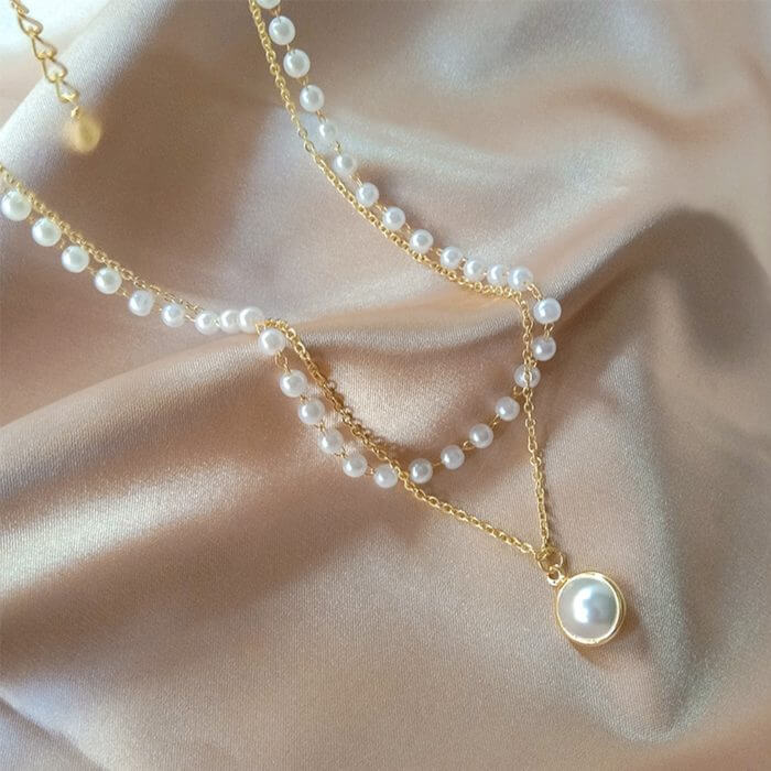 SUMENG 2020 New Fashion Kpop Pearl Choker Necklace Cute Double Layer Chain Pendant For Women Jewelry Girl Gift 3
