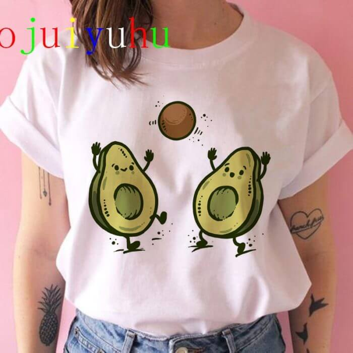 Avocado Harajuku Kawaii Cartoon T Shirt Women Ullzang Small Fresh T-shirt 90s Graphic Fashion Tshirt Korean Style Top Tee Female 1
