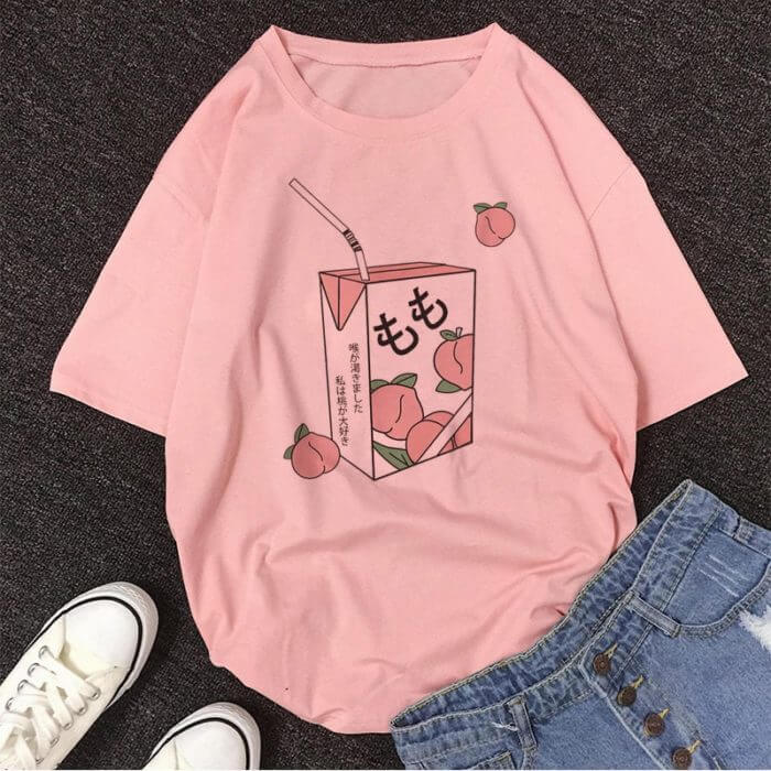 Cartoon Peach Juice Japanses Aesthetic Grunge T shirt Women Harajuku Cute Kawaii Pink Summer Casual Tumblr Outfit Fashion Tops 1